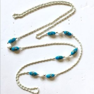 Murano Glass Beaded Necklace Blue White Vintage